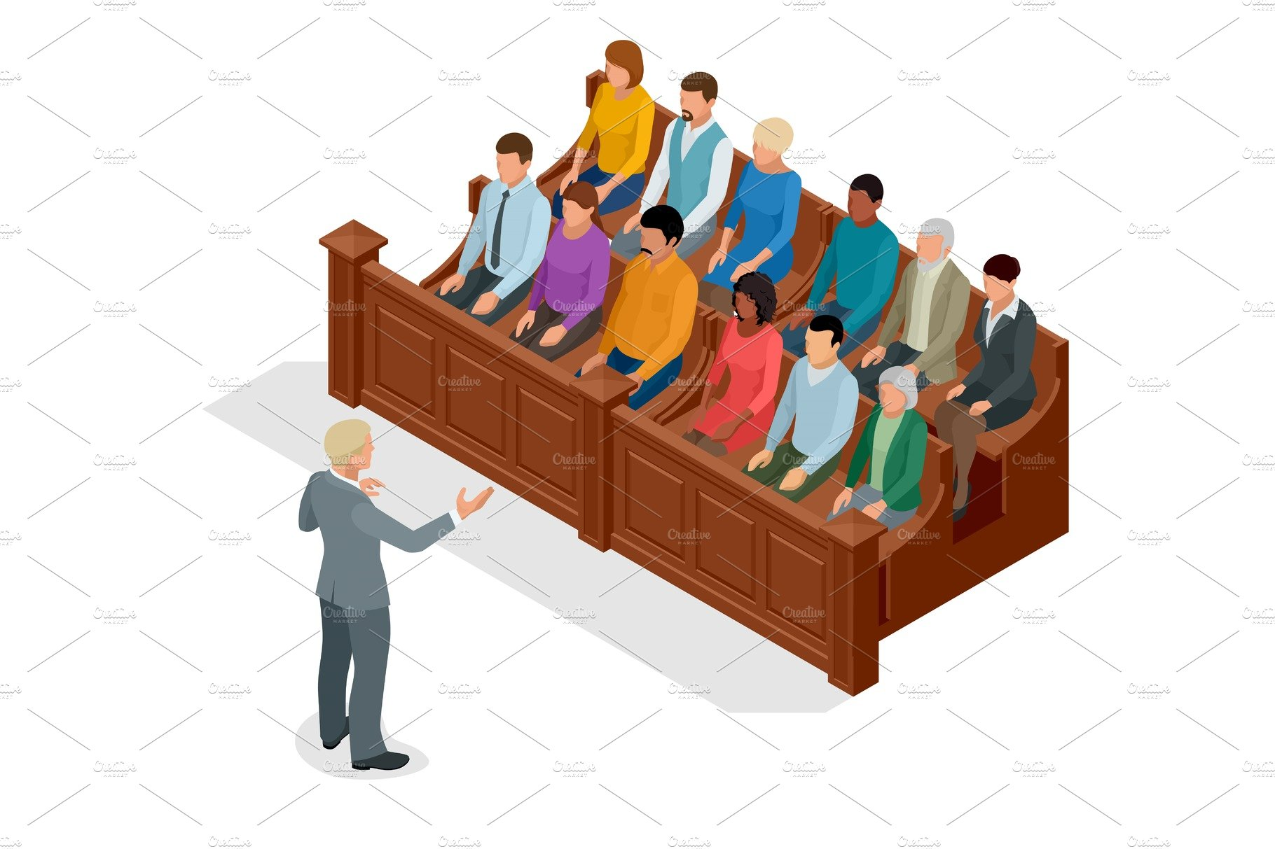 Isometric Symbol Of Law And Justice In The Courtroom Vector