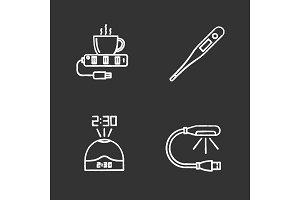 Gadgets chalk icons set