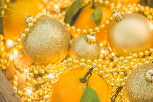 Tangerines with christmas decoration