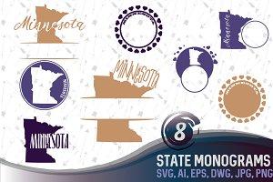 Minnesota Svg state Monogram