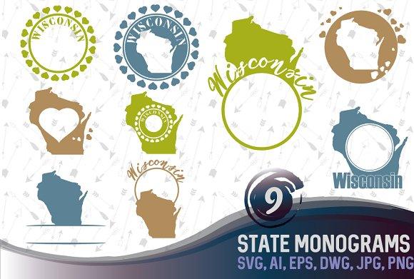 Wisconsin Monogram Svg