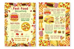 Fast food burgers vector fastfood menu posters