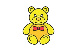 Teddy bear color icon