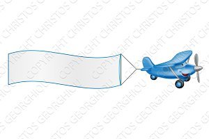 Cartoon plane mascot towing banner