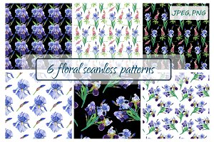 Watercolor  irises,lupines.Patterns.