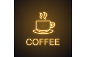 Cup of hot drink neon light icon