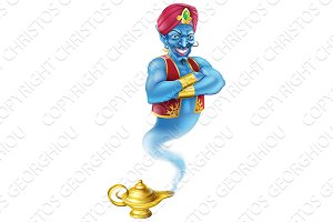 Evil genie and magic oil lamp