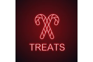 Candy canes neon light icon
