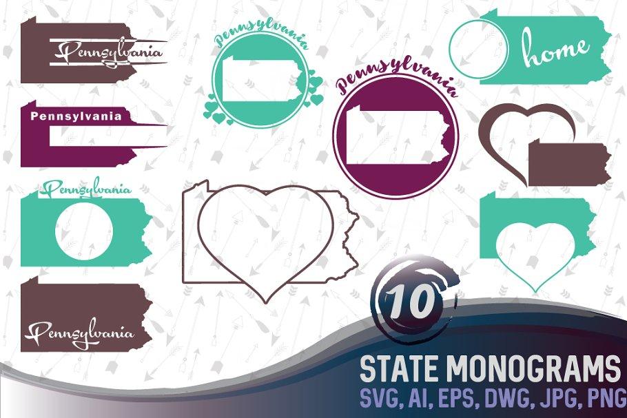Kentucky Svg State Monogram Pre Designed Illustrator Graphics Creative Market