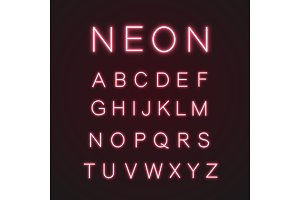 Pink alphabet neon light icons set