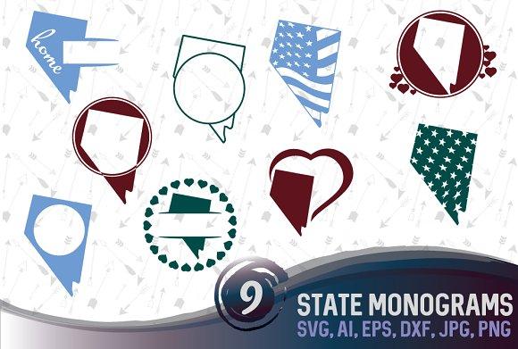 Nevada State Monogram Cut File