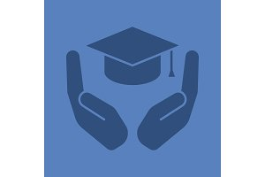 Open palms with graduation cap glyph color icon