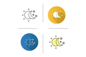 Sun and moon with stars icon