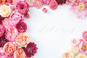Styled Stock Photo, Pink Flowers 1