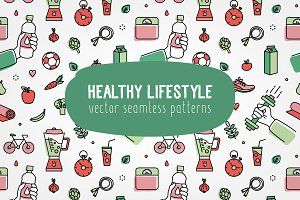 Seamless pattern healthy lifestyle