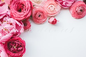 Styled Stock Photo, Pink Flowers 3