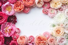 Styled Stock Photo, Floral Frame