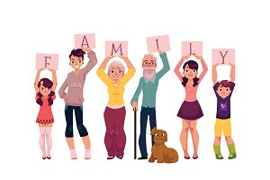 Grandparents and grandchildren holding word FAMILY