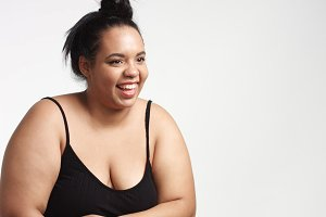 Plus size model in studio shoot