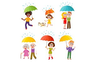Set of happy, smiling people with colorful umbrellas