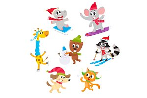 Cute animal characters doing winter activities