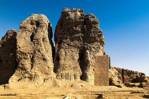 View to Western Deffufa temple in Kerma, Nubia Sudan