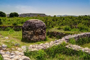 View of the stupa in Taxila ruins Pakistan