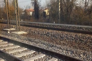 railway tracks in suburban scene