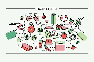 Horizontal banner healthy lifestyle