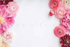 Styled Stock Photo, Pink Flowers 4