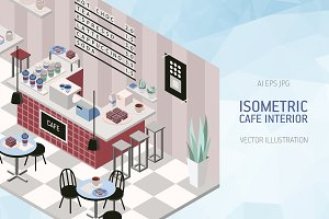 Cafe interior in isometric style