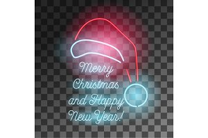 Neon Merry Christmas and Happy New Year symbol.