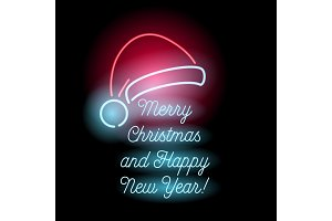 Neon Merry Christmas and Happy New Year text.