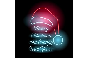 Neon Merry Christmas and Happy New Year sign.