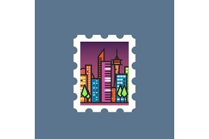 Stamp with night city