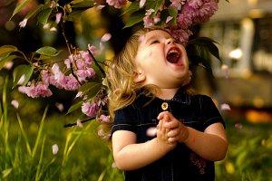 Little girl in garden