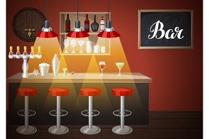 Bar counter in pub or night club. Illustration of interior with accessories, beverages and cocktails