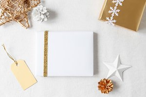 Gold and white Christmas gifts