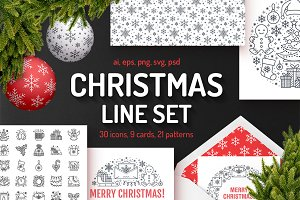 Christmas Line Set: Icons, Patterns