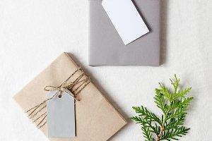 Nordic Christmas gift tag mockup