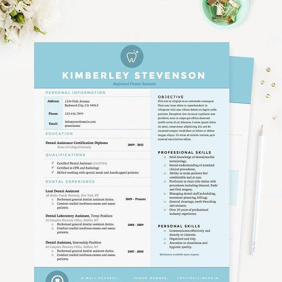 crisp blue resume template pkg resume templates creative market