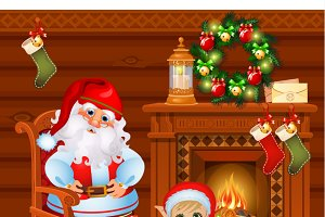 Santa Claus and the boy assistant