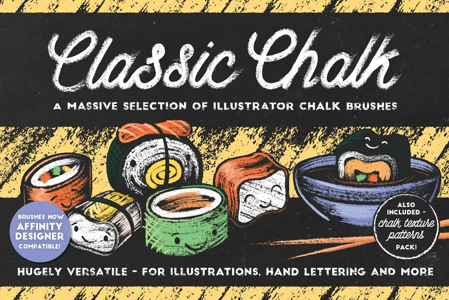 Classic Chalk - Brushes + Patterns ~ Illustrator Add-Ons ~ Creative