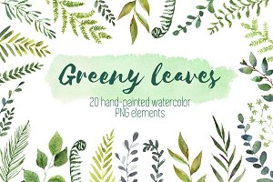 Watercolor green leaves set