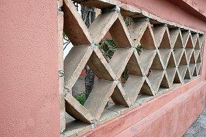 Brick wall in rhombus