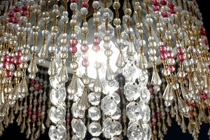 Chandelier with colored crystals