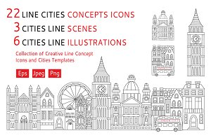 Collection of cities line art