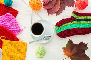 Autumn knitting with a mug of coffee