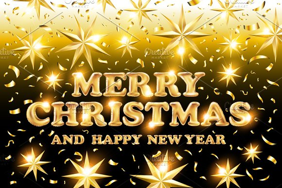 gold Merry Christmas Happy New Year ~ Graphics ~ Creative Market