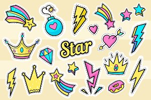 Star, crown, lightning patch set.